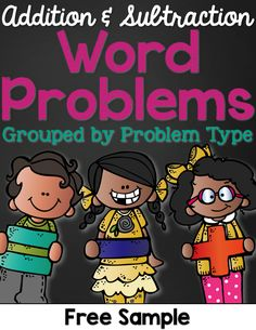 Easily Differentiate Word Problems by problem type and using different numbers in each problem throughout the year. Use small numbers (0-5) for Kinder, medium numbers (1-10) for first grade and larger numbers (0-100) for second grade. Great for interactive notebooks, math journals, and problem solving.