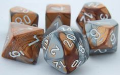 RPG Dice Set (Gemini Bronze Silver) role playing game dice + bag
