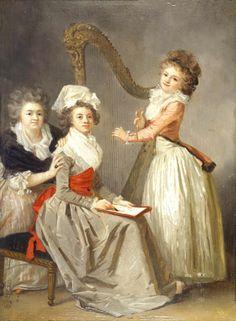 ♪ The Musical Arts ♪ music musician paintings - Marguerite Gérard | Portrait de Madame Ledoux et ses filles, c.1787