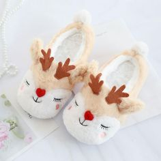 Plush Reindeer Slippers from Apollo Box Soft Slippers, Winter Slippers, Cute Slippers, Photo Pour Instagram, Apollo Box, Bedroom Slippers, Kawaii Plush, Christmas Stocking Stuffers, More Cute