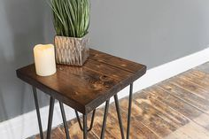 Furniture Stores In Chicago Rustic Industrial Furniture, Reclaimed Wood Furniture, Industrial Style, Furniture Movers, Furniture Stores, Rustic Side Table, Home Workshop, Stool, Hairpin Legs