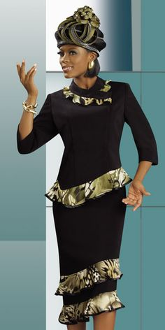 Lisa Rene Designer   Lisa Rene by Donna Vinci Womens Black Church Suit 3184 image