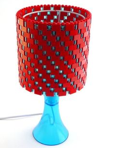 LEGO bricks can be put together to make a colorful, personalized lamp shade.