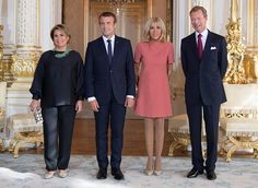 On August 29, 2017, Grand Duke Henri of Luxembourg and his wife Grand Duchess Maria Teresa of Luxembourg meet with French President Emmanuel Macron and his wife Brigitte Macron at the Grand Ducal Palace in Luxembourg. Then, Maria Teresa and Brigitte Macron visited the MUDAM contemporary art museum.