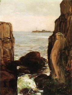 """""""Nymph on a Rocky Ledge"""" (1886) by Frederick Childe Hassam (1859-1935), American Impressionist painter."""