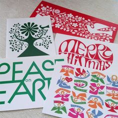 5 Alexander Girard Merry Christmas Holiday Cards - Daisy Face Love Dove Angels