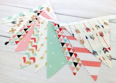 Woodland Nursery Decor, Boho Bunting Banner, Tribal Baby Shower Banner - Blush Pink, Mint and Gold Arrows -