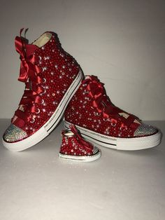 WOMEN s Red Bling Converse All Star Chuck Taylor Sneakers HIGH TOP 362ca1374