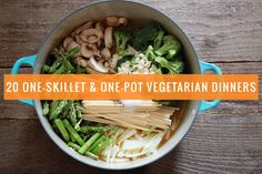These 20 one-skillet and one-pot vegetarian dinners make mealtime easy--and delicious too. From pasta to quinoa to farro, we& got lots of recipe ideas! Vegetarian Main Dishes, Vegetarian Dinners, Vegetarian Recipes Easy, Veg Recipes, Vegetarian Cooking, Whole Food Recipes, Cooking Recipes, Healthy Recipes, Vegetarian Barbecue