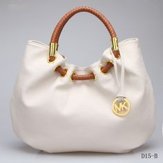 Michael Kors Shoulder Hobo Bag White Genuine Leather by www.wholesalemk.com