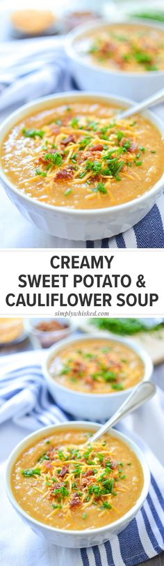 The Best Dairy Free Mashed Potatoes - Dairy Free Creamy Sweet Potato & Cauliflower soup Simply - Healthy Soup Recipes, Vegetarian Recipes, Cooking Recipes, Sweet Potato Soup Healthy, Blended Soup Recipes, Vitamix Soup Recipes, Cashew Recipes, Paleo Soup, Blender Recipes