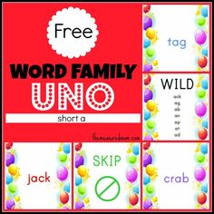 Free Word Family Game: Uno (short a)
