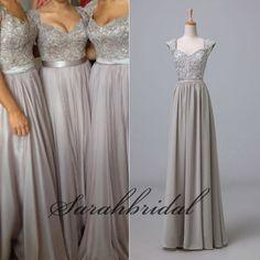 Cap Sleeve Ladies Silver Long Bridesmaid Formal Prom Chiffon Party Maxi Dresses #Handmade #Formal