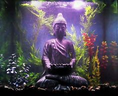 I have a tall tank that is just under 30 gallons Inside of the tank I have black aquarium gravel with smooth black to dark river pebbles layered on top of it In the center I have a large Buddha statue that is almost the height of the aquarium Behind the statue I have a bubble curtain and have various artificial plants surrounding him The background is painted blue