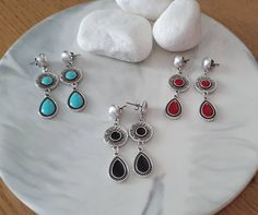 Excited to share this item from my #etsy shop: Silver Antique Dangle Drop Earrings, Black Enamel Beads, Boho Dangling Victorian Teardrop Earrings, Blue / Red / Black Drop Dangle Earrings Teardrop Earrings, Dangle Earrings, How To Make Earrings, Black Enamel, Red Black, Belly Button Rings, Dangles, Handmade Jewelry, Victorian