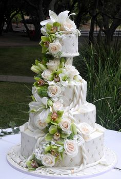 Cascading roses quilted wedding cake.