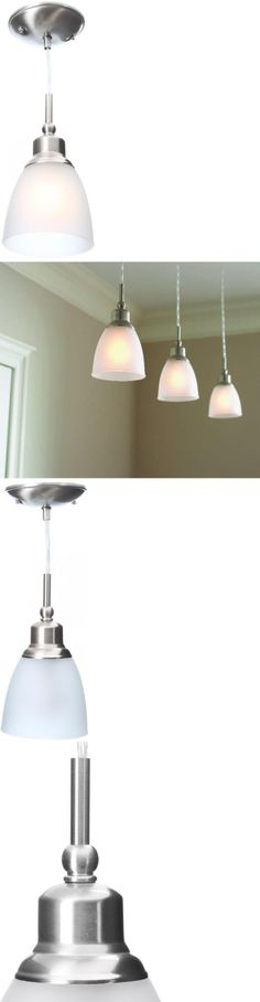 Chandeliers And Ceiling Fixtures 117503 Light Fixture Brushed Nickel Mini Pendant Frosted Shade Lamp Kitchen