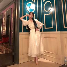 Hotel Del Luna is a series that has featured amazing jaw dropping fashion. All worn by the hotel's CEO Jang Man-wol. Read about Man-Wol Outfits here. Luna Fashion, Girl Fashion, Off White Dresses, Korean Actresses, K Idols, Queen, Kpop Girls, Night Gown, Korean Fashion