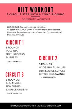 This Strength & Conditioning HIIT Circuit is you vs. There are two ways to turn up the intensity: Use heavier weights for resistance training or Move faster to increase your cardiovascular output for conditioning 30 Min Hiit Workout, Emom Workout, Best Workout Plan, Workout Plans, Workouts Hiit, Circuit Training Workouts, Walking Workouts, Killer Workouts, Training Plan
