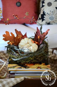DECORATING WITH NATURAL FALL ELEMENTS-nests-with-pumpkin-stonegableblog.com