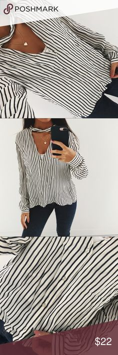 Striped Button Down Blouse I can't explain how soft and airy this is!!!! From Zara, wear it with almost anything! 💖its a medium but fits like a small Zara Tops Button Down Shirts