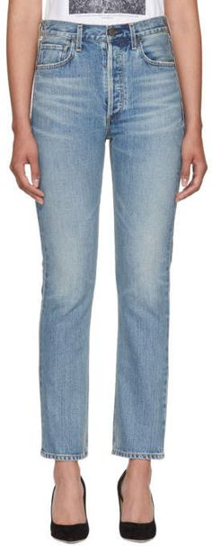 Citizens of Humanity Blue Charlotte High-Rise Straight Jeans Citizens Of Humanity, Casual Boots, Distressed Jeans, Fall Outfits, Charlotte, Mac, Fall Clothes, Legs, Pants