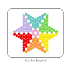 Beady Beads - Star 2c. Perler / Hama / Fusion / Melty / Pyssla Beads. Free Pattern Card! Visit my blog for more free patterns.