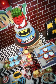 Urban Superhero themed birthday party via Kara's Party Ideas : The Cake