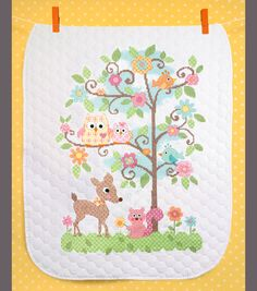 On The Farm Pre-quilted Crib Cover Stamped Counted Cross-stitch ... : stamped cross stitch baby quilt kits - Adamdwight.com