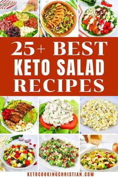 25+ Best Keto Salad Recipes Who says salads have to be boring? These mouth watering Keto Salads are a great way to bring a fresh burst of flavor to your table! #ketosalads #lowcarbsalads #ketosaladrecipes #easysalads Salad Recipes Low Carb, Salmon Salad Recipes, Greek Salad Recipes, Lunch Recipes, Keto Recipes, Healthy Recipes, Low Carb Salad Dressing, Salad Dressing Recipes, Salad Dressings