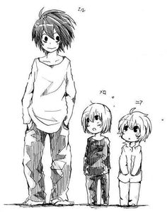 Death Note - L, M, and this is too cute reminds me of how I'm the oldest out of my group of pals