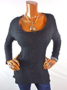 ROCK & REPUBLIC Womens Top M Black Gold Metallic Blouse Casual Shirt Textured #RockRepublic #Blouse #Casual