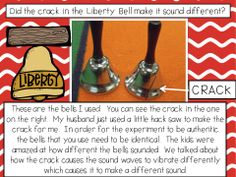 American Symbols - Science Investigation: Did the crack in the Liberty Bell make it sound different? (By Deanna Jump) Kindergarten Social Studies, Kindergarten Science, Teaching Social Studies, Teaching History, Teaching Science, Social Science, Teaching Ideas, Education And Literacy, Kids Education