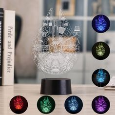 3D Illusion Night Light, Auoker 7 Colors Changing Table Desk Decorative Lamp for Bedroom/Children Room/Office, Toys and Gifts for Kids/Birthday/Christmas, Star Wars Millennium Set