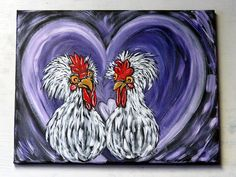 Chicken Art / Original Acrylic Painting on Canvas / Whimsical Rooster Wall Art / Country Home Decor / Farmhouse Painting / Handpainted Gift Rooster Painting, Rooster Art, Your Paintings, Animal Paintings, Original Paintings, Chicken Painting, Chicken Art, Acrylic Art, Acrylic Painting Canvas