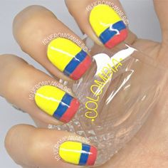 This is so gorgeus! Use a simple ordinary line tapes to keep your line straight. Colombian Flag, Party Nails, Nail Art Videos, Instagram Nails, Nail Games, Nail Decorations, Mani Pedi, Nail Colors, Nail Art Designs