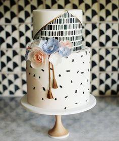 Modern Baby Shower Cake with Tassels