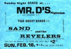 Sand and The Revelers at Mr. D's Nightclub in San Francisco.