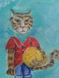 Gato con pelota Cat with ball Pastel/ papel 2015 Rodrigo Aridjis