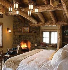 I could deal with this. Especially on a cold, snowy, winter evening. Heavenly! Love those heavy timber beams and of course a nice thick mantle to hold a colorful painting. :)