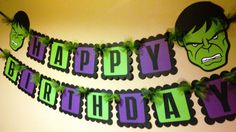 The Hulk Inspired Happy Birthday Banner by PaperPiecingDreams Hulk Birthday Parties, Happy Birthday Name, Superhero Birthday Party, Happy Birthday Banners, Birthday Party Decorations, 5th Birthday, Birthday Ideas, Avenger Party, Incredible Hulk Party