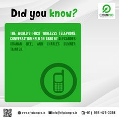 Fascinating facts about Wireless Networking...  The world's first wireless telephone conversation occurred in 1880. Alexander Graham Bell invented and patented the photophone, the telephone that conducted audio conversations wirelessly over modulated light beams.  #elysiumpro #projectcenter #finalyearprojects #finalyearstudents #wirelessnetworking #factsofwirelessnetworking #factsofwirelessnetwroking #wirelessnetworkingfacts Alexander Graham Bell, Fascinating Facts, Light Beam, Telephone, Inventions, Beams, Did You Know, Knowing You, Conversation