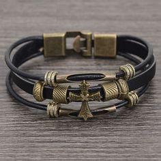 Vintage Cross Leather Braided Charm Bracelet