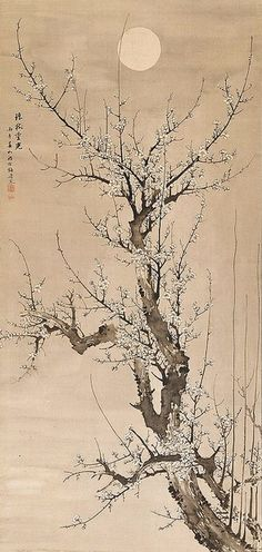 Blossoming Plum Tree-Hanging scroll; ink on silk. Prunus in the moonlight (294x619, 224Kb)