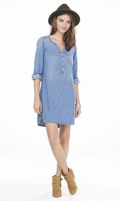 Denim Popover Shirt Dress | Express