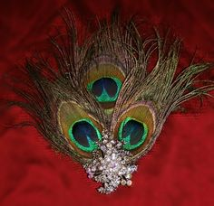 Peacock Feather Hair Clips with Crystal Brooches