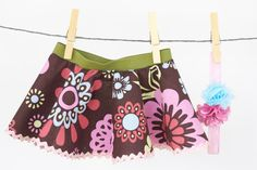 Flower Print Baby Skirt with Coordinating by Nichelley on Etsy, $20.00