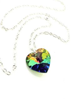 Colorful Necklace #rainbow #colorful #heart by UrbanClink on Etsy, $25.95