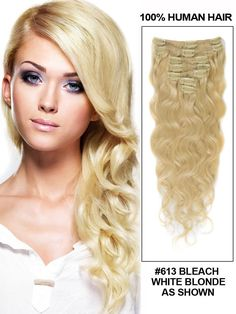 16 Inch 8pcs Body Wave Indian Clip In Remy Hair Extensions (#613 Bleach Blonde) 100g