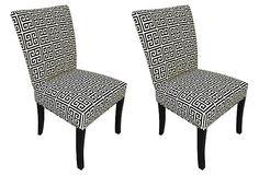 Black/White Callum Dining Chairs, Pair on OneKingsLane.com